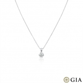 White Gold Round Brilliant Cut Diamond Pendant 0.90ct G/VS1